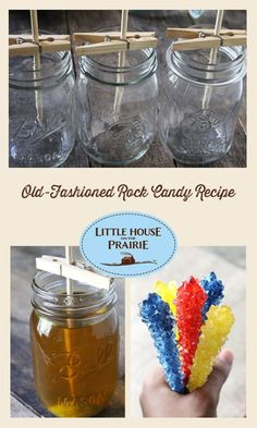fun can also be delicious with this make-your-own rock candy recipe!Old-fashioned fun can also be delicious with this make-your-own rock candy recipe! Old Fashioned Rock Candy Recipe, Do It Yourself Fashion, Make It Yourself, Toffee, Homemade Candies, Homemade Rock Candy, Homemade Candy Recipes, Cupcake Recipes, Sugar Candy