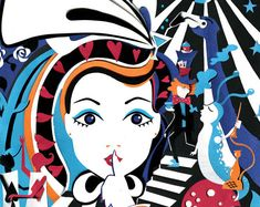 Alice in Discoland- Digital Print - Alice in Wonderland Illustration - Alice in Wonderland Print - Psychedelic Art - Trippy Art