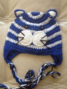 Crochet Handmade animal hats tiger cute and great bright blue colors stripe cute. $18.00, via Etsy.