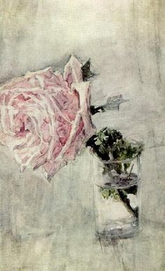 Mikhail Aleksandrovitch Vrubel  Rose in a Glass 1904  Watercolor on paper mounted on cardboard