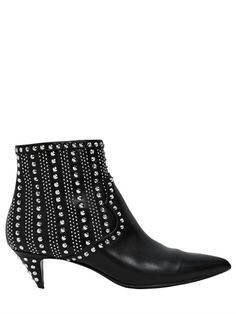 50MM CAT LEATHER STUDDED ANKLE BOOTS