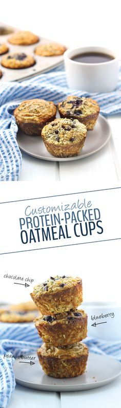 Customizable Protein-Packed Oatmeal Cups Looking for a protein-packed breakfast you can make your own? These Customizable Protein Oatmeal Cups are healthy, have 11 grams of protein and are a great on-the-go breakfast for everyday Healthy Protein Snacks, Healthy Muffins, Healthy Treats, Healthy Baking, Protein Packed Snacks, Healthy Foods, Healthy Breakfasts, Protein Packed Foods, Blueberry Protein Muffins