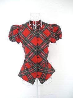 Vintage 80s do 40s 50s Tartan plaid check steampunk red Green satin dress shirt blouse top S 10 8. $32.00, via Etsy.