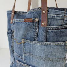 Borsa tote in tela denim con un sacco di tasche   riciclata