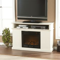 """Wildon Home Julian 48"""" TV Stand with Electric Fireplace in Ivory"""
