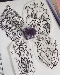 WEBSTA @ stephanietattooer - I have these pieces available to be tattooed and I have some time available to tattoo them next week! Dm me if interested ✨ Tattoo Sketches, Tattoo Drawings, Body Art Tattoos, New Tattoos, Cool Tattoos, Tatoos, Crystal Tattoo, Geniale Tattoos, Tattoo Stencils