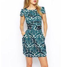 Nova moda vintage impresso vestidos de festa à noite vestido de verão bolsos cinto fino vestido de lazer mulheres vestido vestidos ED46