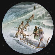 MAGIC LANTERN SLIDE OF ARCTIC EXPLORATION. [1870S-1880S]