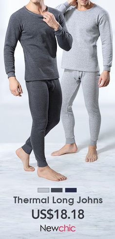 Casual Comfortable Breathable Solid Color O-Neck Inside Thicken Fleece Pajamas Sets for Men is warmest, see other thermal long johns underwear on NewChic. Men's Underwear, Long John Underwear, Leather Underwear, Seamless Underwear, Pyjamas, Fleece Pajamas, Boys Pajamas, Jogging, Thermal Long Johns