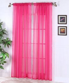 "2 Piece Solid Neon Pink Sheer Curtains Fully Stitched Panels Window Drape 54"" X 84"""