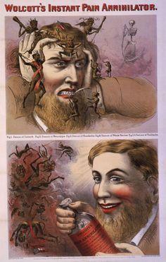 Ethyl alcohol and opium: Wolcott's Instant Pain Annihilator, 1863