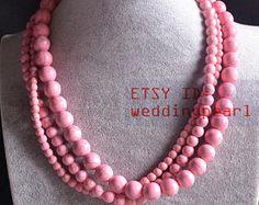 luce rosa turchese collana, collana di turchese artificiale di 6-12mm, collana di perline rosa chiaro, triplo filo rosa collana, collana da sposa
