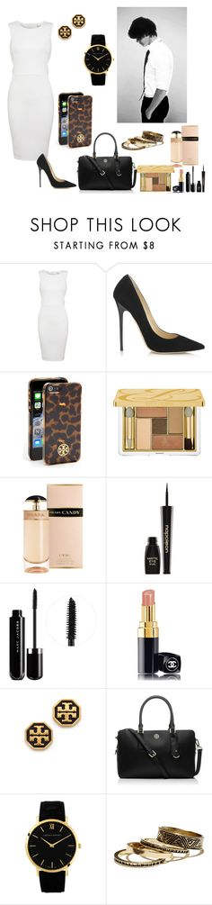 """""""At the Office with Harry"""" by elise-22 ❤ liked on Polyvore featuring Miss Selfridge, Jimmy Choo, Tory Burch, Estée Lauder, Prada, Napoleon Perdis, Marc Jacobs, Chanel, Warehouse and harrystyles"""