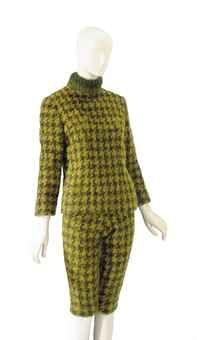 AN YVES SAINT LAURENT GREEN WOOL HOUNDSTOOTH TWO-PIECE ENSEMBLE  LABELED 'YVES SAINT LAURENT PARIS/3709', PROBABLY 1960S-1970S, $27,500, estate Elizabeth Taylor