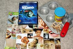 Activity Bag #3    Finding Nemo DVD  Puzzle ($1 at Target)  Muffin Tin  Play-Doh  Golf Tees  Toy Hammer