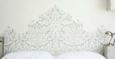 Farrow & ball wallpaper headboard