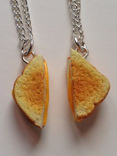 Best Friends Grilled Cheese Necklaces by CaseysMiniShop on Etsy, $20.00 Polymer clay food jewelry