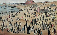 July, the Seaside by Laurence Stephen Lowry Salford, Seaside Art, British Seaside, English Artists, British Artists, Art Uk, Naive Art, Art For Art Sake, Beach Scenes