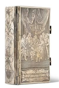 """Chased silver single strap over wooden boards, engraved with magnificent figural engraving and two later silver closure. Front cover: """"The cleaning of the holy virgins according to the law""""; Back: medallion with floral ornaments: Christ as Büser;"""