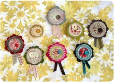 Fabric corsage pins - very versatile and the combinations are endless.