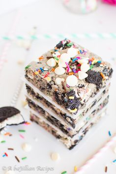 Funfetti Cookies n' Creme Blondies - A baJillian Recipes  STRICTLY FOR EVA (HER PRESENT)
