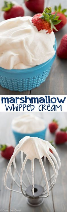 Marshmallow Whipped Cream - an easy recipe with just 3 ingredients! It's the perfect fruit dip or topping for pancakes or cake!