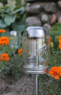 Solar lights in mason jars.