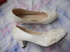 Custom Lace Pearls Women Wedding Shoes Low by StarsShineNewWorld