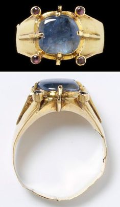 Gold Ring ca.1350. Medieval jewellery. Until the late 14th century, gems were usually polished rather than cut. The jewellery worn in medieval Europe reflected an intensely hierarchical and status-conscious society. Colour provided by precious gems and enamel and protective power were highly valued.