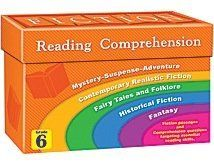 "Fiction Reading Comprehension Cards Grade 6 by Teacher Created Resources. $19.99. Choose from five categories of captivating stories: fairy tales & folklore, historical fiction, contemporary realistic fiction, mystery/suspense/adventure, and fantasy. Each grade-appropriate story is accompanied by multiple choice questions to help students develop comprehension skills. 84 durable 5"" x 8-1/2"" cards per box."