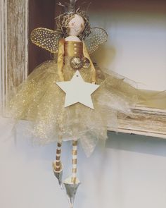 A gorgeous gold creation for the top of a tree or maybe she's just happy to perch on a shelf? Christmas Tree Fairy, Christmas Fairy, Christmas Tree Toppers, Christmas Angels, Christmas Tree Ornaments, Christmas Wreaths, Christmas Crafts, Christmas Sewing Projects, Flower Fairies
