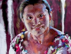 """'Mayan Woman' by Debra Jones. 12"""" high x 14"""" wide Pastel on suede board. The Mayan woman worked making tortillas for the tourists in a home with sun streaming between the wood. Close up on her face showed the nobility of her history."""