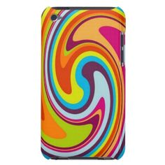 Funky, psychedelic, pretty and whimsical iPod Touch 4G case. Beautiful colorful classic red, green, orange, blue, turquoise pink, purple, violet round shaped splash ripples. Vintage vector waves retro pattern. For the hip fashion trend setter, modern abstract geometric motif or nouveau deco art lover. Cute and fun birthday present or Christmas gift. Classy, stylish and cool cover. Also for iPod Touch 5G, Samsung Galaxy S2 S3, Motorola Droid Razr, iPhone 3 4 5, iPad, etc.
