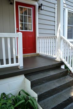 (Porch Paint by Sherwin-Williams) I would love to paint the patio cement. Nothing fancy or difficult: just to freshen it up. Concrete Patios, Concrete Front Porch, Cement Patio, Front Porch Steps, Flagstone Patio, Br House, House With Porch, House Front, Painted Concrete Steps