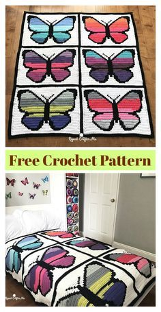 The Butterfly Graphgan Afghan Blanket Free Crochet Pattern is incredible. Crochet Afgans, Manta Crochet, Afghan Crochet Patterns, Crochet Squares, Knit Or Crochet, Free Crochet, Crochet Stitches, Crochet For Beginners Blanket, Crochet Patterns For Beginners