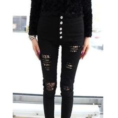 High-Waist-BLACK-Skinny-Jeans-Lace-Lined-Ripped-Distressed-UK-6-10