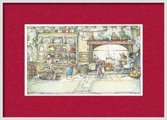 Brambly Hedge Framed Print featuring the drawing The Kitchen At Crabapple Cottage by Brambly Hedge Brambly Hedge, Hanging Wire, Hedges, Home Art, Fine Art America, Vintage World Maps, Framed Prints, Cottage, Drawings