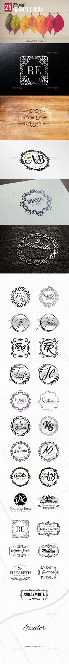 Elegant Minimal Logos - Badges & Stickers Web Elements