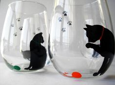 Cat and Yarn Stemless Wine Glasses Set of 4 by MaryElizabethArts