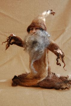 Needle Felted Woodland Forest Wizard Gnome Mythical Handmade Wool FREE SHIPPING