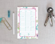 Floral Paisley Grocery Shopping List Notepad | White Background | Meredith Collie Paper