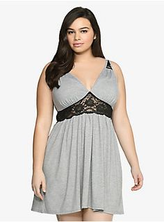 What do you get when you mix soft slub knit with semi-sheer lace? One comfortable and sexy style. Yep, black floral lace brings a fun & flirty appeal to this heather grey chemise. Oh, what a lovely way to say goodnight.<br><br><b>Model is size Plus Size Cardigans, Cardigans For Women, Trendy Plus Size, Plus Size Women, Curvy Fashion, Plus Size Fashion, Womens Fashion, Pijamas Women, Lingerie Plus Size