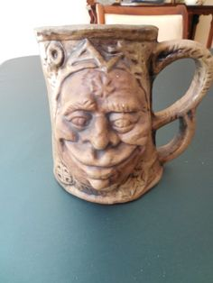 Vintage Rumph ugly Face Mug with Troll inside, blue glaze inside -crazy strange! Face Mug, Ugly Faces, Troll, Aunt, Being Ugly, Glaze, House, Ebay, Vintage
