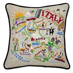 Say hello to your favorite country with one of these lovely hand embroidered pillows with black velvet piping and soft polyfill.
