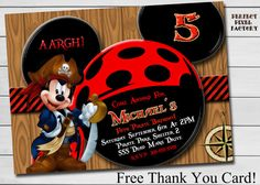MICKEY MOUSE PIRATE Invitation Birthday by PerfectPixelFactory