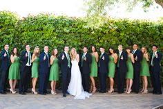 Bridesmaid dresses from Watters & Watters on WeddingtonWay.com- the perfect green for a wine country wedding