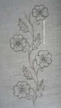 Border Embroidery Designs, Floral Embroidery Patterns, Embroidery Flowers Pattern, Simple Embroidery, Ribbon Embroidery, Embroidery Stitches, Simple Flower Embroidery Designs, Hand Embroidery Videos, Embroidery On Clothes