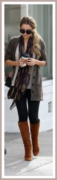 Casual chic. #leggings #boots #cardigan