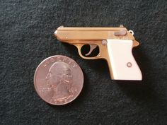 Miniature Walther PPK pistol, 1/4 scale, single shot, 2mm rimfire - left side view. See how this miniature gun was made on my youtube channel: https://www.youtube.com/watch?v=lWgEjzvWBXA