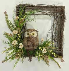 Owl Wreath, Square Wreath, Twig Wreath, Owl Floral Décor, Summer Wreath, Rustic Wreath, Owl, Woodland Wreath, Spring Wreath, Garden Wreath